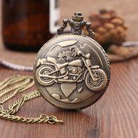 indischen kettenentwurf für männer großhandel-Vintage Antike Schnitzen Motorrad Steampunk Quarz Taschenuhr Retro Bronze Frauen Männer Halskette Anhänger Uhr mit Kette Spielzeug