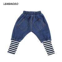 jeans de calidad para niños al por mayor-Lememogo Nueva Chica Casual Patchwork Jeans Niños Cintura Elástica Raya Pantalones Pantalones de verano de alta calidad para bebés niños bolsillo Jeans