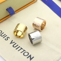 Wholesale wide wedding bands for women resale online - Fashion designers jewelry Classic V shape Rings for women Titanium Stainless Steel wide k gold plated love rings wide wedding jewelry