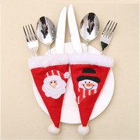 Wholesale fork spoon party resale online - 3pcs Santa Claus Snowman Silverware Cover Holders Fork Spoon Hat Pockets Xmas Dinner Party Table Decoration Accessories JK278