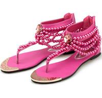 sandalias planas sexy pedreria al por mayor-Nueva Perla Cadena de perlas Rhinestone Sandalias de cuña Amarillo talón plano Flip Flop flop Moda Sexy Sandalia de verano Sandalias de las mujeres zapatos