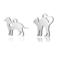 ingrosso orecchini a doppia faccia animale-10pcs in acciaio inossidabile 316L doppio lato lucido lucido cane gatto pendente di fascino animale per orecchini pendenti che fanno i risultati