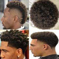 Afro Hair Full Lace Toupee Brazilian Virgin Human Hair Afro Curl Men Wig Afro Kinky Curly Toupee for Black Men Free Shipping