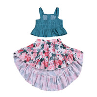 Wholesale paisley baby clothes resale online - Baby girls flower outfits children Sling Dot top Floral print skirts set summer fashion kids Clothing Sets C5933
