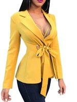 ingrosso lunghe parti di lavoro-Donna Blazer manica lunga Cappotti Bandage Business Work Blazer Abiti Tops