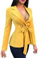 светло-серый костюм женщины оптовых-Women Long Sleeve Blazer Coats Bandage Business Work Blazers Suits Lapel Tops