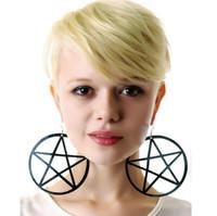 ingrosso orecchini punk goth-New Fashion Punk Rock Round Pentagram Star Orecchini Hoop Goth Ear Hook Studs