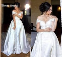 Wholesale plus size gray belt for sale - New Mermaid Wedding Dresses with Detachable SkirtOff The Shoulder Sleeves Lace Appliques Beads Belt Overskirts Wedding Bridal Gowns