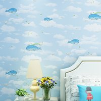 Wholesale whale decor resale online - New home decor wall roll Warm whale cartoon British wind wall paper children s room boys and girls non woven bedroom wallpaper living room