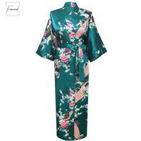 ingrosso accappatoio da donna verde-Sleepwear Robes 3XL Oversize Nuova Drak Accappatoio verde sposa di cerimonia nuziale della damigella d'onore abito di raso Rayon camicia da notte per le donne Fiore Kimono