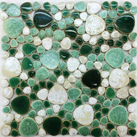 Wholesale Green mix White pebble porcelain ceramic mosaic kitchen bathroom wall tile PPMT051 swimming pool flooring tiles