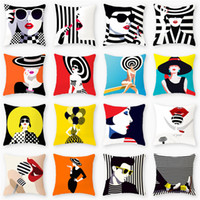 Wholesale sexy pillow covers resale online - Sexy Lady Printed Pillow Cases Decorative Ladies Print Pillow Cover Vintage Cushion Cover Sofa Chair Pillow Case