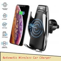 ingrosso ricevitore universale di ricarica-S5 Supporto di ricarica per caricabatterie per auto wireless con morsetto automatico Supporto intelligente Sensore 10W Caricabatterie a ricarica rapida per iPhone Samsung Universal Phones