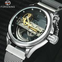 reloj dorado para hombre al por mayor-FORSINING Classic Business Golden Bridge Auto reloj mecánico para hombre con caja transparente Imán Correa Relojes para hombre de primeras marcas de lujo