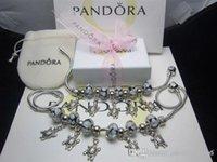 freundschaftsarmbänder halsketten großhandel-Pandora stil 2018 klassische retro silber farbe schwarz perle freundschaft armbänder mit charme halskette armband zubehör