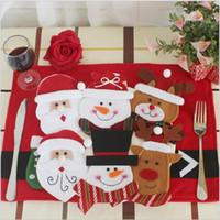 Wholesale knife decor resale online - 6Pcs Cute Tableware Holders Knifes Folks Cover Santa Cluas Deer Dinner Decor Xmas New Year Christmas Decoration for Home