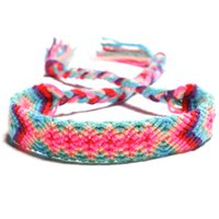 Wholesale handicraft bracelet for sale - Group buy New Style Fashion Weaving Bracelet Nepalese National Wind Hand Woven Handicraft Rainbow Colorful Lucky Friendship Bracelet Jewelry H683F A