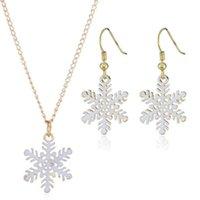 weiße weihnachtsspray groihandel-Neue Art und Weise Legierung weißen Spray Schneeflocke Halskette Ohrringe Schmuckset Weihnachten Schmuckset Winter-Weihnachtsgeburtstagsgeschenk