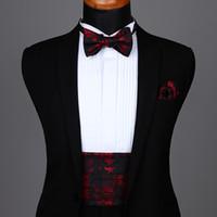 fábrica de gravata vermelha venda por atacado-Self Bow tie Set Partido casamento dos homens Formal Paisley Flor Sólida Cummerbund Auto Bow Tie Bolso Quadrado Set