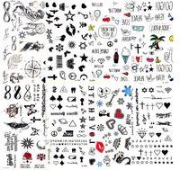 su geçirmez yara makyajı toptan satış-Sıcak Küçük Seksi Dudaklar Yaprak Siyah Karikatür Geçici Dövme Sevimli Yıldız Dövme Etiket Aşk Kadınlar Vücut Parmak Sanat Suya Dövme Çocuk