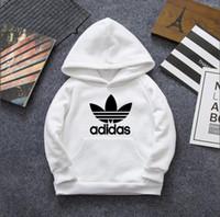 kızlar hoodie sweaters toptan satış-Yeni Çocuklar Hoodie Uzun Kollu Kazak Erkek Kazak Kazak Kızlar Uzun Kollu Hoodie Kazak Beyaz Siyah Kırmızı Boyutu 100-140