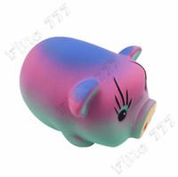 pendentif cochon mignon achat en gros de-Jumbo Kawaii Rainbow Pig Squishy Slow Rising Dessin Animé Mignon Sangles Pendentif Doux Antistres Squeeze Pain Cake Enfant Jouets Cadeau