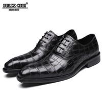 мужская кожаная кожаная обувь оптовых-Italian Style Leather Men Shoes Spring and Autumn Formal Wedding Shoes Leather Crocodile Print Party Green Dress Men 2019