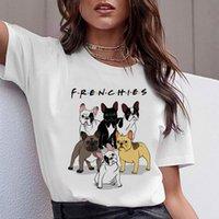 lindo toro al por mayor-Camiseta divertida de Teckel Mujeres Harajuku Cute Bulldog Francés Frances Pastor Alemán Camiseta Pit Bull Camiseta Top Mujer