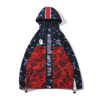 зимняя синяя форма оптовых-Осень зима прилив бренд подросток камуфляж сращивания хип-хоп уличная куртка мужская повседневная Синий Фиолетовый камуфляж Бейсбол равномерное куртка