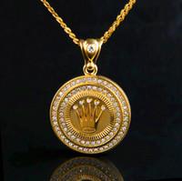 ingrosso accessori della collana del pendente della corona-Collane corone Hip Hop per uomo e donna Gemme gioiello con gemma Pop di alta qualità. Accessori di lusso placcati oro 18k
