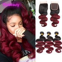 Wholesale 99j human hair body wave resale online - Malaysian Human Hair Extensions B j Color Body Wave Bundles With X4 Lace Closure With Baby Hair Wefts inch B J TwoTones