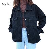 frauen schwarze jeansjacke großhandel-Semfri Frauen schwarze Jeansjacke Herbst-Winter-Mantel-Schwarz-Jeans-Jacke beiläufige Harajuku Street Frauen koreanische Kleidung 2019MX191011