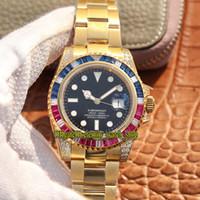 Wholesale custom silver buckles for sale - Group buy OW Custom Version SUB MM LN m116618 ETA Automatic Black Dial Diamonds Bezel Mens Watch Sapphire Designer Watches
