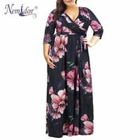 Nemidor 2019 Women Elegant V-neck 3 4 Sleeve Vintage 50s Casual Dress Plus  Size 7XL 8XL 9XL Floral Print Party Long Maxi Dress Y19042401