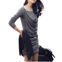 mini vestido coreano de una pieza al por mayor-Vestido atractivo de la manga del estilo coreano de las mujeres mini vestido delgado largo K-pop femenino ocasional de una sola pieza gris de otoño la ropa de moda