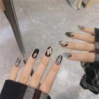 Wholesale black false nail resale online - Smoke Black Gold Chain Pces Nail Art Fake Piece False Acrylic Nail Tips Extension Finger Tools Manicure