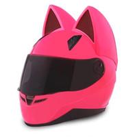 mehrfarbige motorradhelme großhandel-NITRINOS Motorradhelm Vollgesicht mit Katzenohren rosa Farbe Persönlichkeit Katze Helm Fashion Motorradhelm Größe M / L / XL / XXL