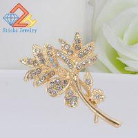 ingrosso abiti da damigella d'onore-Spilla fiore di cristallo color oro per le donne da sposa damigella d'onore strass bouquet spilla abito pin accessori di abbigliamento