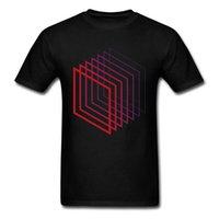 verblassen kleidung großhandel-Box Fade Tshirts Komfortable Männer T-shirt Geometrische T-shirt Geek Graphic Kleidung Sommer Streetwear Einfache Tops Tees Schwarz