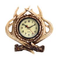 ingrosso ornamenti bar-Resin Crafts Antler Ornaments Bedroom Living Room Bar Home Retro orologio decorativo