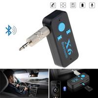 adaptateur micro jack achat en gros de-3.5mm Audio Jack X6 Adaptateur Bluetooth Sans Fil Mains Libres USB Car Kit Récepteur Bluetooth AUX Lecteur de Carte AUX TF Appels Support MIC Haut-Parleur