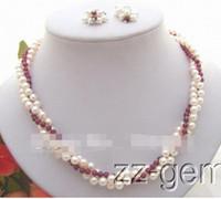 ingrosso collane di perle di granato-SPEDIZIONE GRATUITA White PearlNatural Garnet NecklaceEarring Set