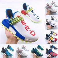 zapatillas grises azules al por mayor-Pharrell Williams X Hombres Mujeres Zapatos para correr Diseñador Human Race Azul Amarillo Gris Crema lujo Hombres Jóvenes Entrenadores informales Zapatillas deportivas