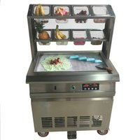 dondurma makinesi toptan satış-Ücretsiz Kargo Paslanmaz Çelik 110 v 220 v Elektrikli 64x40 cm Fry Pan Tay Kızarmış Dondurma Yoğurt Rulo Makinesi Makinesi Ile 8 Kutuları