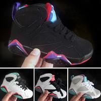 zapatos de baloncesto para niños a la venta al por mayor-Nike Air Jordan 7 Venta caliente Kids classic 7 zapatillas de baloncesto rosa zapatillas deportivas niños verano al aire libre zapatillas negras tamaño 28-35 chaussures de course