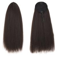 Wholesale long straight drawstring ponytail resale online - 22 Yaki Straight Ponytail Drawstring Extensions Hair Pieces Kinky Straight Long Black Ponytail for Women Clip in on Ponytail Hair Extensions