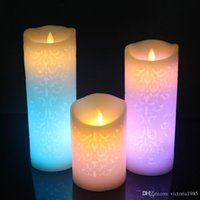 bougies électroniques télécommandées achat en gros de-Changement de couleur Gradient LED Bougies Télécommande Électronique Sans Flamme Respiration Bougie Veilleuse Veilleuse Décoration De Noce