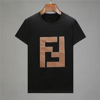 ingrosso fuori dal colletto-2019 Fashion Tees For Men Uomo in cotone T-shirt con scollo tondo Collare miliardario Uomo Tops Estate manica corta nero Bianco la camicia da lettera