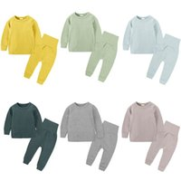 kinder baumwoll-pyjama-anzüge großhandel-Kinder Geschichten Herbst Winter Baby-Kleidung nach Hause tragen Pyjama Set Baumwolle 2pcs hohe Taille Pyjamaklage für 6m-6Y Kinder Junge Mädchen Outfits T191006