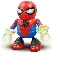 robot çocuk filmi toptan satış-Film Avengers Kahraman Dans Spiderman Action Figure Oyuncak Robot LED Ses Müzik Elektronik Çocuk Oyuncakları Koleksiyonu